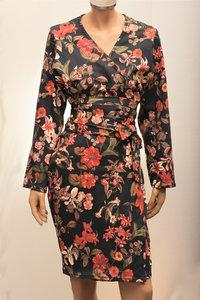 Zwarte kimono met bloemenprint