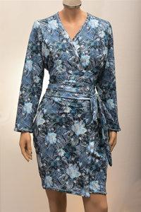 Blauwe kimono met bloemenprint